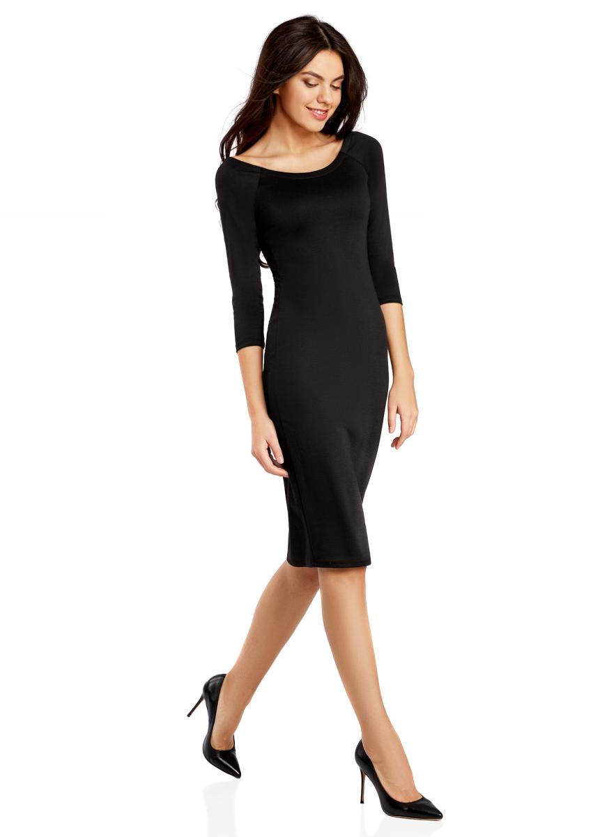 Платье oodji Ultra, цвет: черный. 14017001/42376/2900N. Размер XS (42-170)14017001/42376/2900NПлатье oodji Ultra выполнено из облегающей ткани. Имеет длину миди, рукава 3/4 и разрез-лодочку воротника, который позволяет носить изделие как с открытыми плечами, так и стандартно.