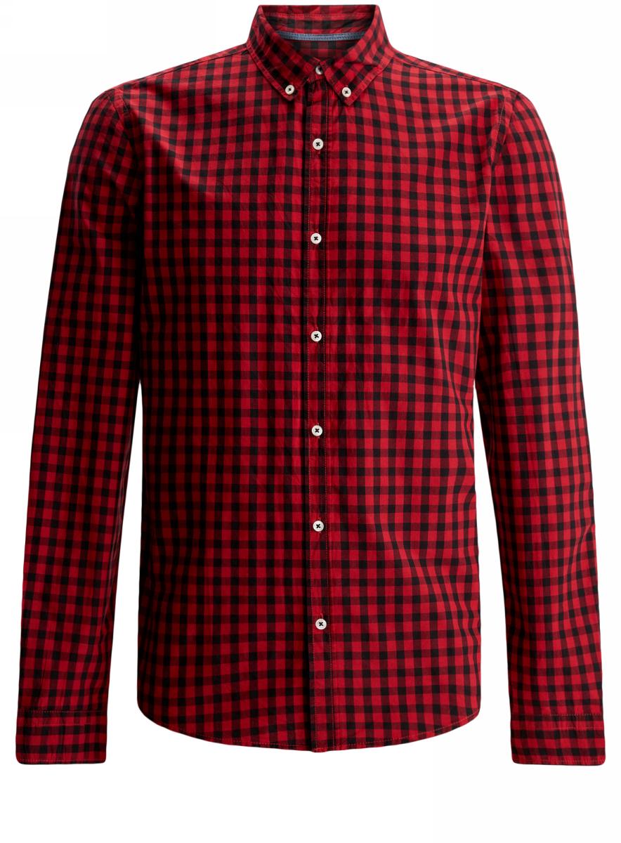 Рубашка мужская oodji Lab, цвет: черный, красный. 3L310131M/39511N/2945C. Размер XL-182 (56-182)3L310131M/39511N/2945CРубашка oodji Lab полностью выполнена из хлопка. Модель с отложным воротником и длинными рукавами застегивается по всей длине на пуговицы. Рукава, дополненные манжетами с пуговицами, подворачиваются и фиксируются. Рубашка оформлена принтом в клетку.