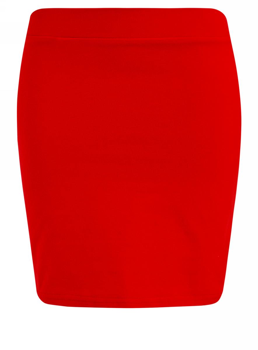 Юбка oodji Ultra, цвет: красный. 14101001B/46159/4500N. Размер XS (42)14101001B/46159/4500NТрикотажная юбка oodji Ultra прилегающего кроя выполнена из хлопка с добавлением полиуретана. Модель мини-длины с поясом на широкой эластичной резинке выгодно подчеркнет достоинства фигуры.
