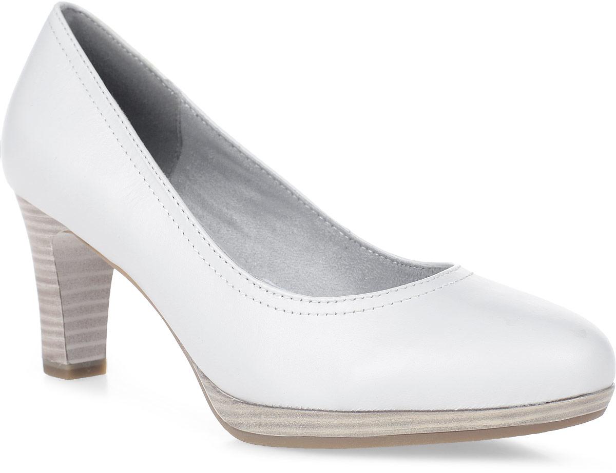 Туфли женские Tamaris, цвет: белый. 1-1-22410-28-100/229. Размер 381-1-22410-28-100/229Удобные женские туфли выполнены из натуральной кожи. Мягкая стелька из искусственной кожи комфортна при движении. Подошва дополнена устойчивым каблуком.