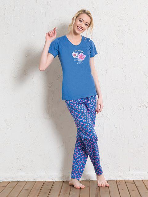 Пижама женская Vienettas Secret, цвет: синий, розовый. 511165 5297. Размер XL (50)511165 5297Пижама женская Vienettas Secret исполнена из 100% хлопка. Футболка оформлена принтом с цветками. Брюки принтованы цветочным узором и имеют завязки на талии.