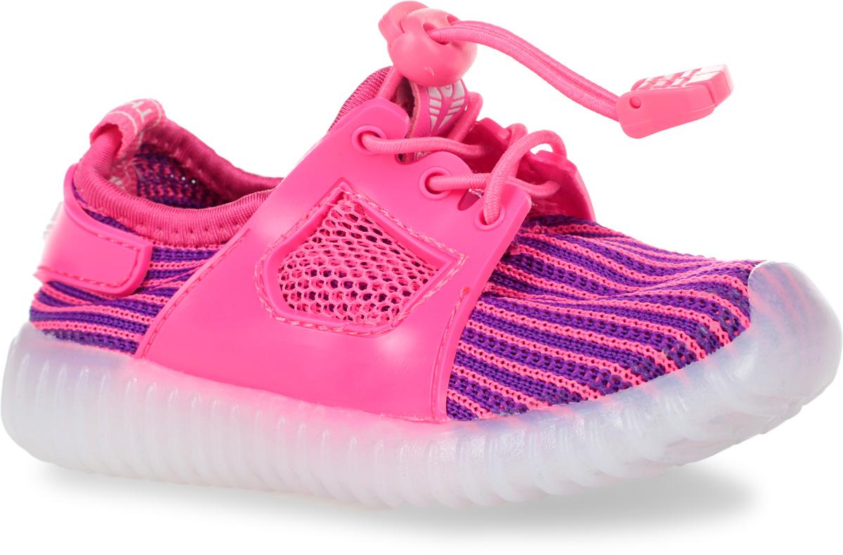 Кроссовки детские Мифер, цвет: розовый, фиолетовый. 7710F. Размер 227710FКроссовки Мифер выполнены из текстиля с элементами из резины и оформлены принтом в полоску. На ноге модель фиксируется с помощью эластичного шнурка со стоппером. Внутренняя поверхность из текстиля комфортна при движении. Стелька выполнена из легкого ЭВА-материала с поверхностью из искусственной кожи. Стелька дополнена супинатором с перфорацией, который обеспечивает правильное положение стопы ребенка при ходьбе и предотвращает плоскостопие. Подошва изготовлена из ТЭП-материала и дополнена рифлением.