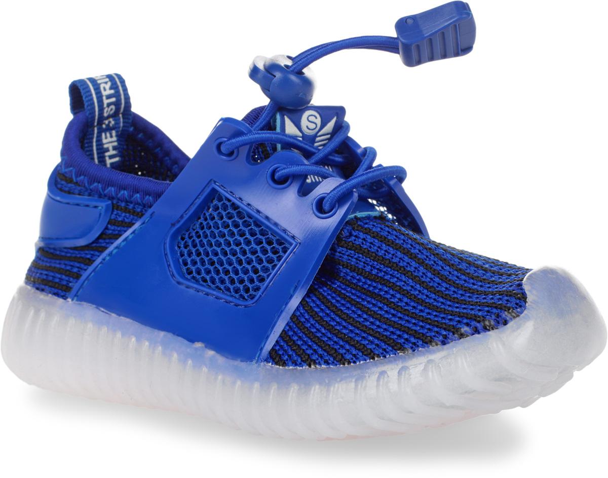 Кроссовки детские Мифер, цвет: синий, черный. 7710F. Размер 237710FКроссовки Мифер выполнены из текстиля с элементами из резины и оформлены принтом в полоску. На ноге модель фиксируется с помощью эластичного шнурка со стоппером. Внутренняя поверхность из текстиля комфортна при движении. Стелька выполнена из легкого ЭВА-материала с поверхностью из искусственной кожи. Стелька дополнена супинатором с перфорацией, который обеспечивает правильное положение стопы ребенка при ходьбе и предотвращает плоскостопие. Подошва изготовлена из ТЭП-материала и дополнена рифлением.