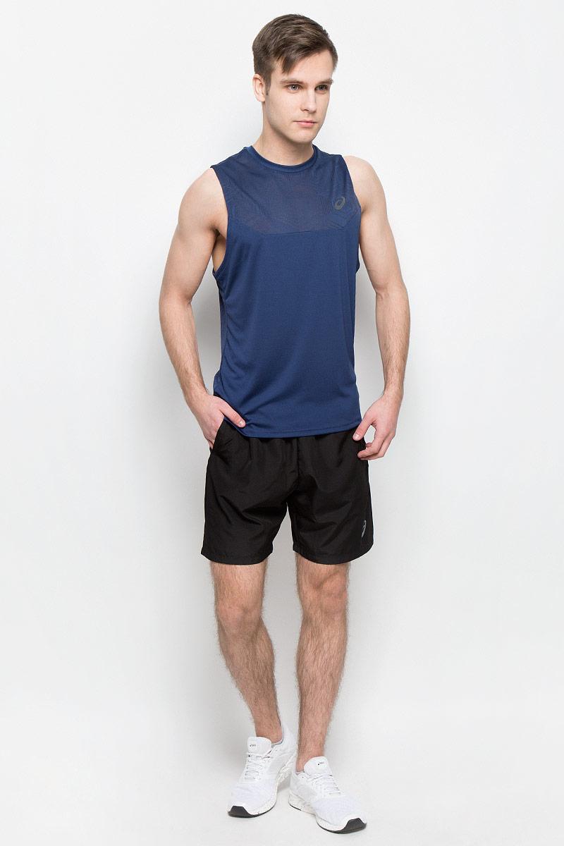 Майка для фитнеса мужская Asics Ventilation Vest, цвет: темно-синий. 141817-8052. Размер M (48/50)141817-8052Стильная майка для фитнеса Asics Ventilation Vest с вентиляцией избавит вас от духоты, пота и дискомфорта, с которыми часто ассоциируется посещение спортзала. Она сшита с использованием технологии ASICS MotionDry, благодаря которой ткань эффективно впитывает пот, позволяя вам оставаться сухим. Модель выполнена из качественного полиэстера.Майка без рукавов и с круглым вырезом горловины оформлена сетчатыми вставками спереди и сзади, которые обеспечат вам дополнительную вентиляцию, сделают ваши тренировки более комфортными и позволят сфокусироваться на результате.