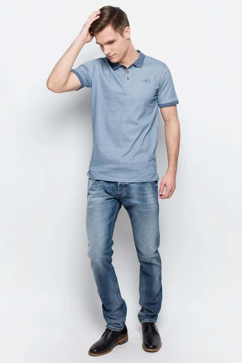 Поло мужское Lee Cooper, цвет: голубой. BONES-5. Размер M (46/48)BONES-5