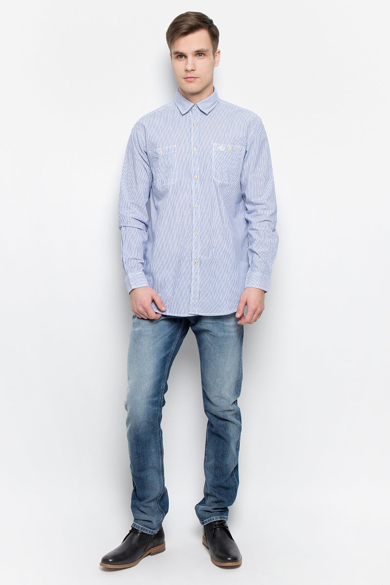 Рубашка мужская Lee Cooper, цвет: синий, белый. DOKER-5582. Размер L (50) платье lee cooper цвет белый desire 5094 размер l 50