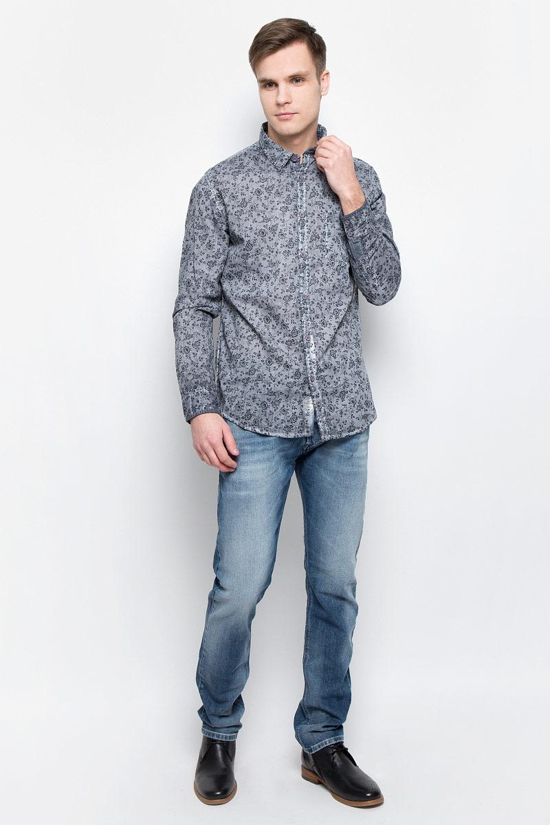 Рубашка мужская Lee Cooper, цвет: серый. DARWIN-5601. Размер XL (54)DARWIN-5601Мужская рубашка Lee Cooper выполнена из натурального хлопка. Рубашка с длинными рукавами и отложным воротником застегивается на пуговицы спереди. Манжеты рукавов также застегиваются на пуговицы. Рубашка оформлена цветочным принтом. На груди расположен накладной карман.