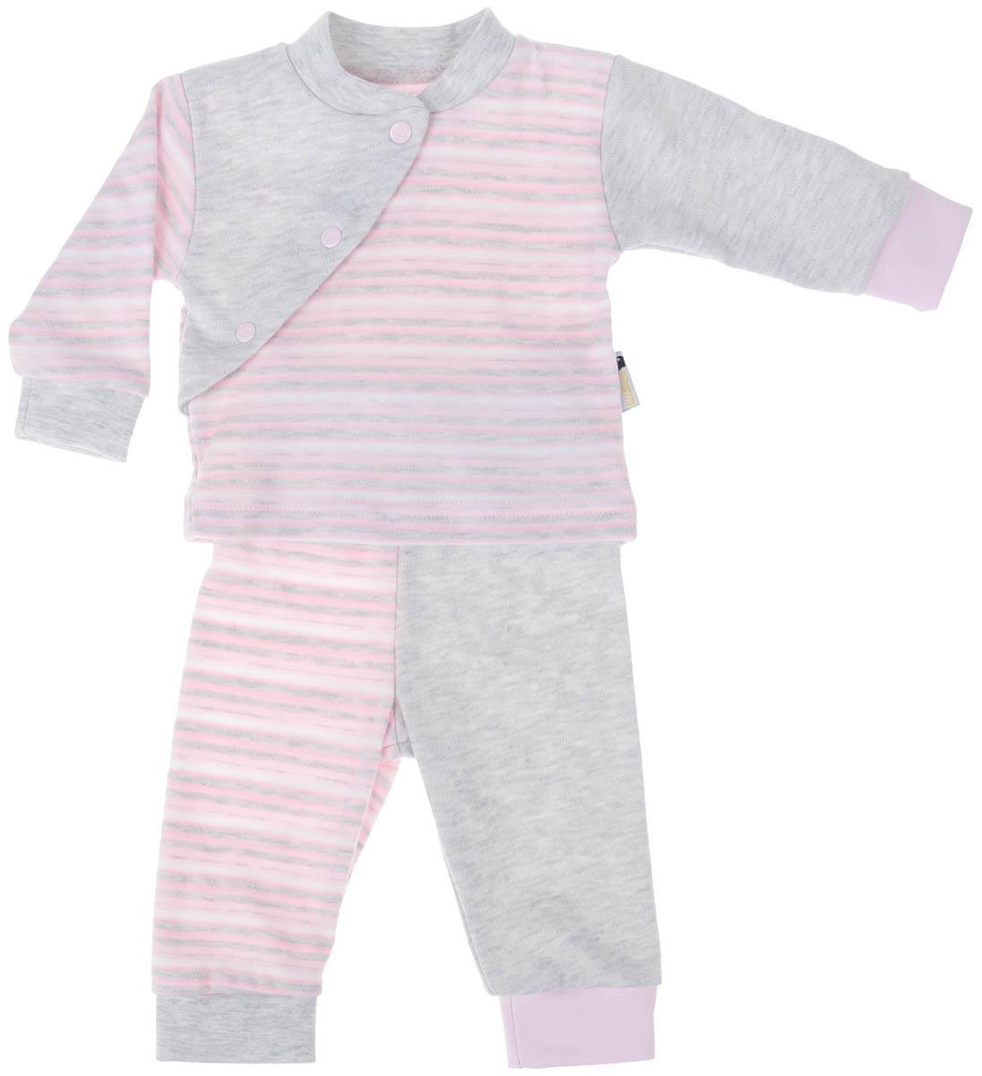 Комплект детский Клякса: кофточка, брюки, цвет: розовый, светло-серый, белый. 39К-5222. Размер 6839К-5222Детский комплект Клякса состоит из кофточки и штанишек. Комплект изготовлен из качественного натурального хлопка. Кофта с длинными рукавами и воротником-стойкой застегивается спереди на три кнопки. Штанишки имеют широкую эластичную резинку на поясе и широкие манжеты.
