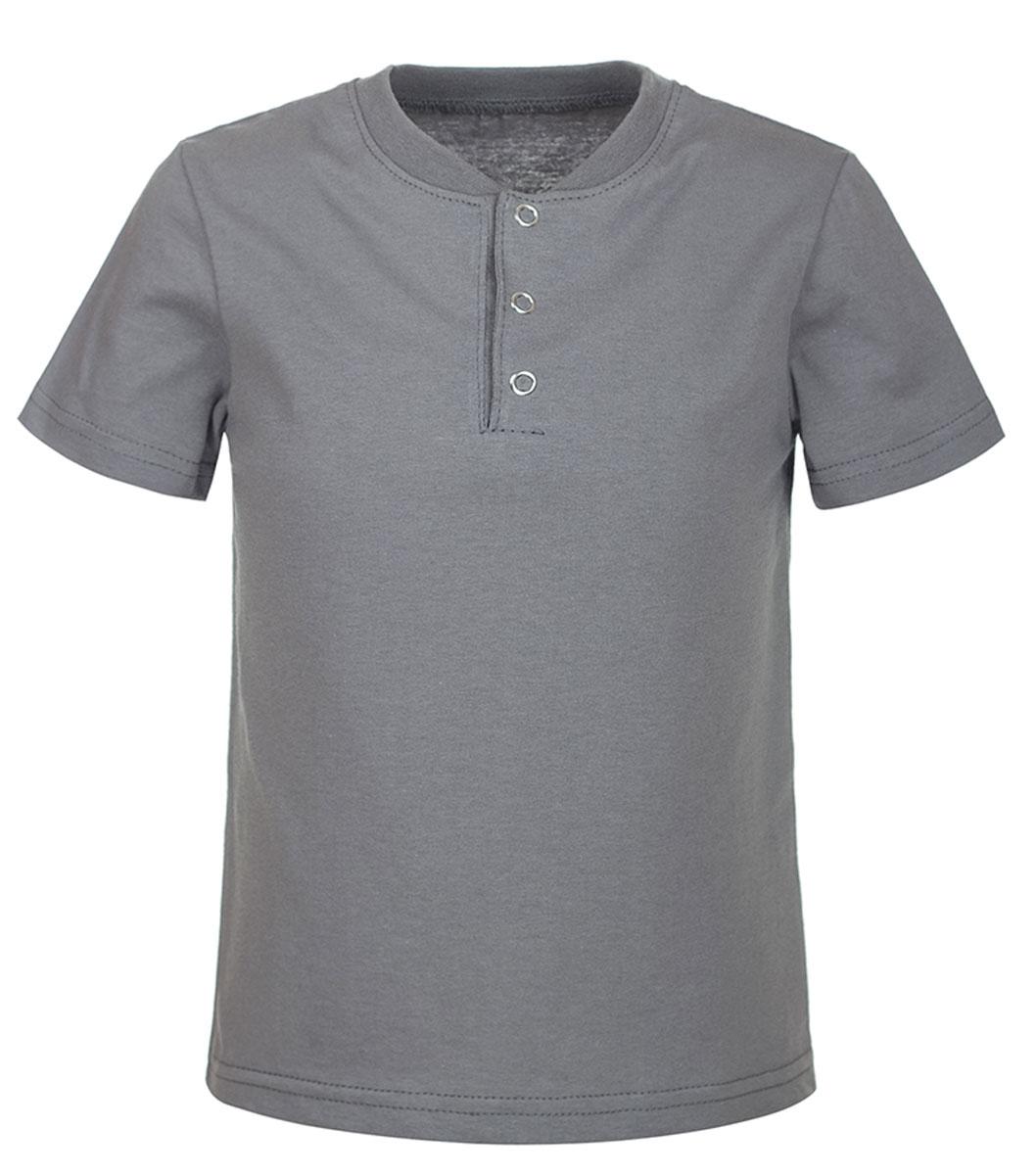 Футболка для мальчика M&D, цвет: серый. ФМ1604. Размер 104ФМ1604Футболка для мальчика M&D выполнена из 100% хлопка. Имеет круглый вырез воротника оформленный текстильной резинкой, который застегивается на три кнопки спереди.