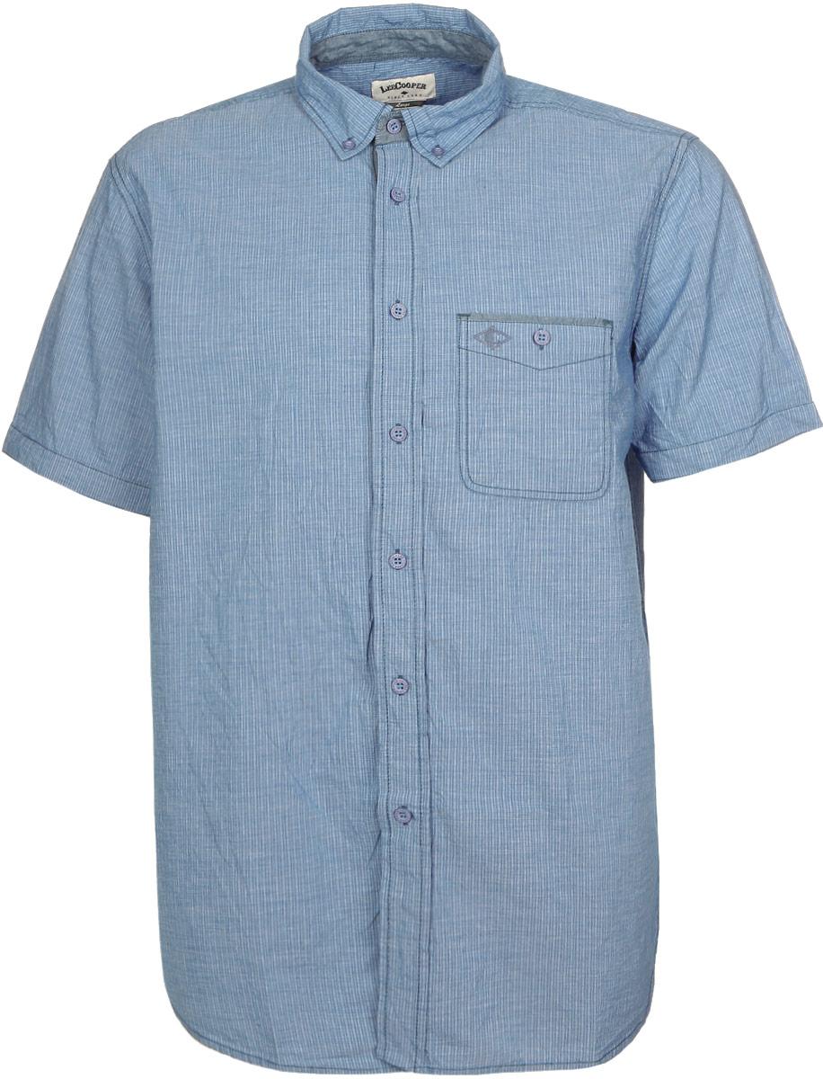 Рубашка мужская Lee Cooper, цвет: голубой. DERBY-5577. Размер XXL (54)DERBY-5577Мужская рубашка Lee Cooper выполнена из натурального хлопка. Рубашка с длинными рукавами и отложным воротником застегивается на пуговицы спереди. Манжеты рукавов также застегиваются на пуговицы.