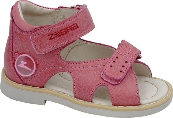 Сандалии для девочки Зебра, цвет: розовый. 11541-9. Размер 2511541-9Сандалии от Зебра выполнены из натуральной кожи. Внутренняя поверхность и стелька из натуральной кожи комфортны при ходьбе. Стелька дополнена супинатором, который обеспечивает правильное положение ноги ребенка при ходьбе и предотвращает плоскостопие. Ремешок с застежкой-липучкой позволяет прочно зафиксировать ножку ребенка. Ортопедический каблук Томаса укрепляет подошву под средней частью стопы и препятствует ее заваливанию внутрь.