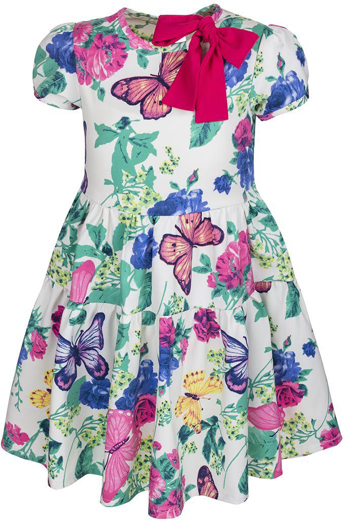 Платье для девочки M&D, цвет: белый, мультиколор. SWD27015M77. Размер 122SWD27015M77Платье M&D выполнено из вискозы, полиэстера и лайкры. Модель с круглым вырезом горловины и коротким рукавом-фонариком оформлена ярким цветочным принтом. Платье застегивается сзади на пуговицу и имеет завязки.