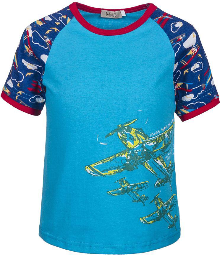 Футболка для мальчика M&D, цвет: голубой. SJF17010M10. Размер 104SJF17010M10Стильная футболка M&D для мальчика изготовлена из натурального хлопка, она необычайно мягкая и приятная на ощупь, не сковывает движения ребенка и придает комфорт.Футболка с короткими рукавами-реглан и круглым вырезом горловины оформлена оригинальным принтом. Вырез горловины дополнен трикотажной бейкой.