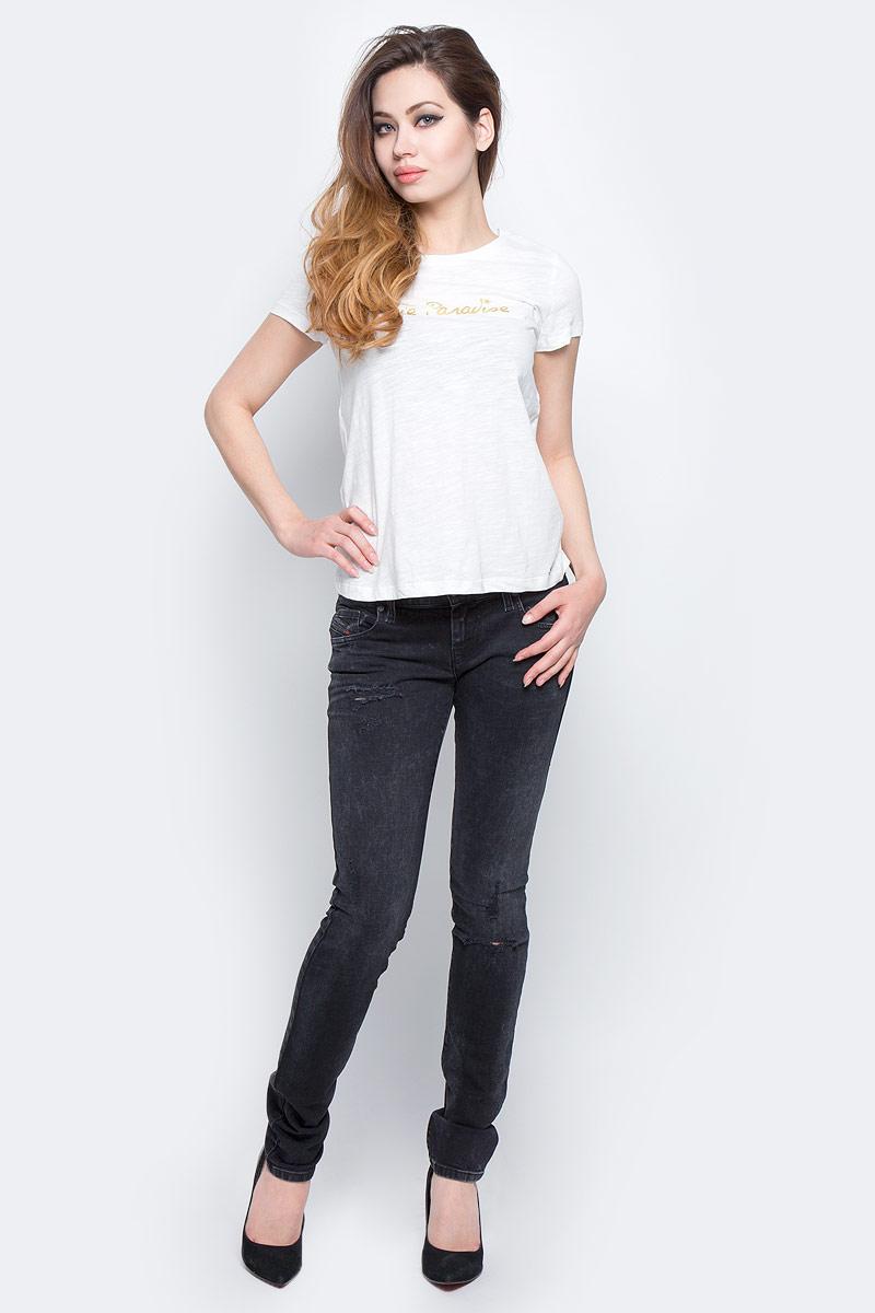 Джинсы женские Diesel, цвет: темно-серый. 00SFCU-0679B/02. Размер 27-32 (44-32)00SFCU-0679B/02Стильные женские джинсы Diesel - это стрейчевые джинсы высочайшего качества на каждый день, которые прекрасно сидят. Модель изготовлена из хлопка с добавлением эластана, имеет силуэт skinny и заниженную талию. Застегиваются джинсы на пуговицу в поясе и ширинку на молнии, на поясе также имеются шлевки для ремня. Спереди модель дополнена двумя втачными карманами и небольшим накладным кармашком, а сзади - двумя накладными карманами. Изделие оформлено потертостями и рваным эффектом на коленях.Эти модные и в то же время комфортные джинсы послужат отличным дополнением к вашему гардеробу.