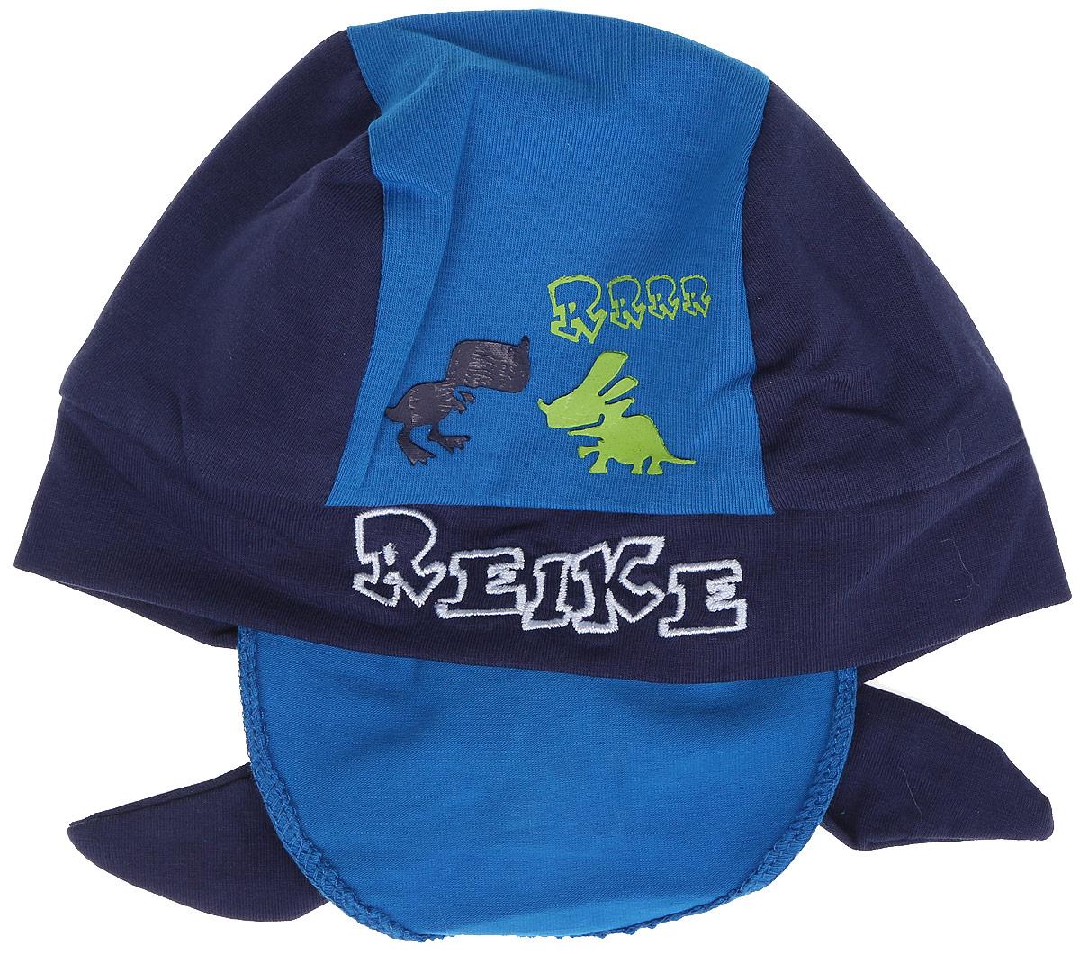 Бандана для мальчика Reike Динозаврики, цвет: синий. RKNSS17-DIN8. Размер 46RKNSS17-DIN8_navyБандана для мальчика Reike Динозаврики, изготовленная из натурального хлопка, станет стильным аксессуаром во время прогулок и игр на свежем воздухе, защищая голову малыша от солнца и ветра. Бандана оформлена принтом в стиле серии и вышитой надписью с названием бренда и фиксируется на голове широкими завязками.Уважаемые клиенты!Размер, доступный для заказа, является обхватом головы.