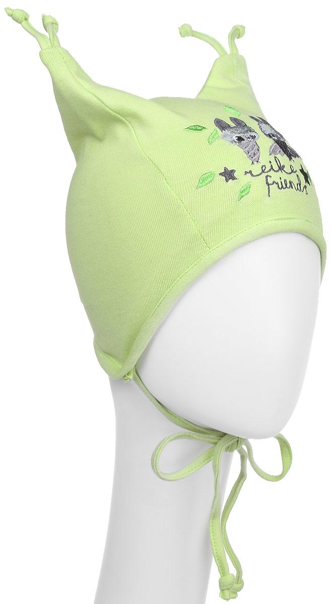 Шапка детская Reike Летучие Мышки, цвет: зеленый . RKNSS17-BT3. Размер 44RKNSS17-BT3_greenСтильная двухслойная шапка Reike Летучие Мышки, изготовленная из натурального хлопка, защитит голову ребенка от ветра в прохладную погоду. Модель с удлиненными ушками оформлена кисточками и вышитым принтом в стиле коллекции. Изделие фиксируется на голове при помощи завязок.Уважаемые клиенты!Размер, доступный для заказа, является обхватом головы.