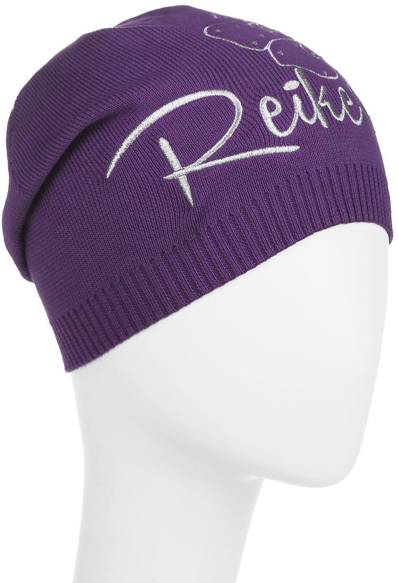 Шапка для девочки Reike Мальва, цвет: фиолетовый. RKNSS17-MAL1-YN. Размер 52RKNSS17-MAL1-YN_violetСтильная шапка для девочки Reike Мальва, изготовленная из натурального хлопка мелкой вязки, отлично впишется в гардероб юной модницы. Модель оформлена резинкой, вышитым серебристым цветком со стразами в стиле серии и логотипом Reike. Уважаемые клиенты!Размер, доступный для заказа, является обхватом головы.