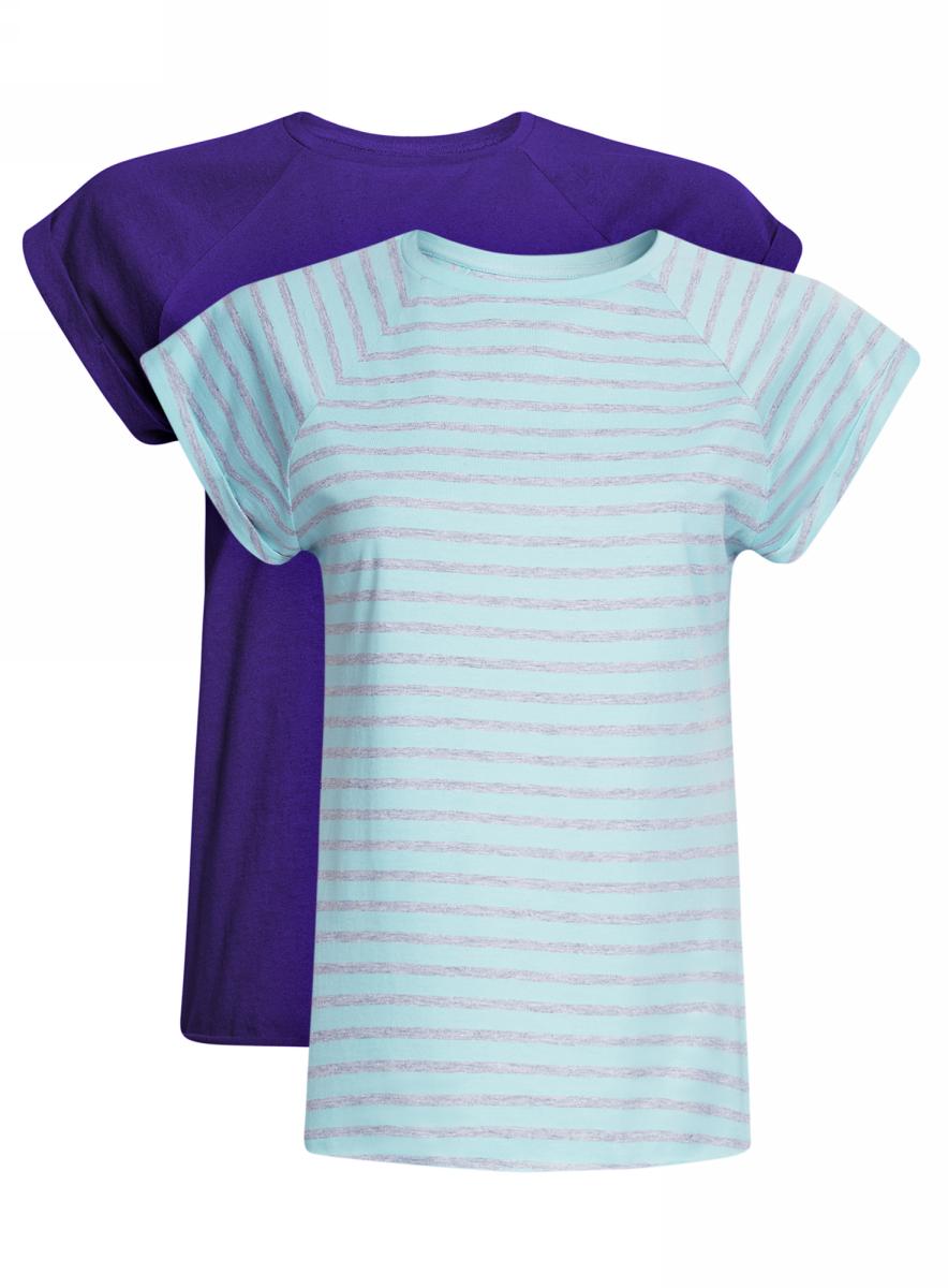 Футболка женская oodji Ultra, цвет: фиолетовый, бирюзовый, 2 шт. 14707001-4T2/46154/7573N. Размер S (44)14707001-4T2/46154/7573NБазовая футболка свободного кроя с короткими рукавами-реглан и круглым вырезом горловины выполнена из натурального хлопка. В комплект входит две футболки.