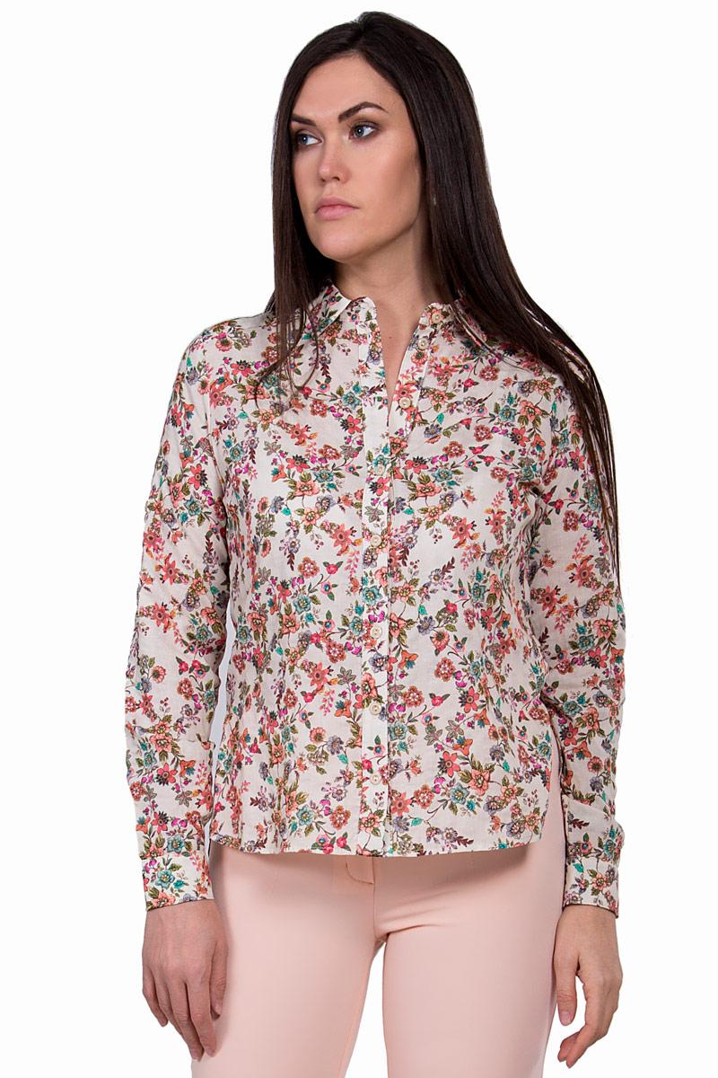 Блузка женская Pavlotti, цвет: бежевый. П18-202. Размер 44П18-202Блузка Pavlotti выполнена из высококачественного 100% хлопка. Модель с отложным воротником и длинными рукавами застегивается на пуговицы. Классический фасон блузки подчеркнет достоинства фигуры за счет нагрудных вытачек, создавая тем самым идеальный силуэт, а разрезы в боковых швах и паты на рукавах позволят создать более расслабленный и непринужденный образ. Изделие оформлено цветочным принтом.
