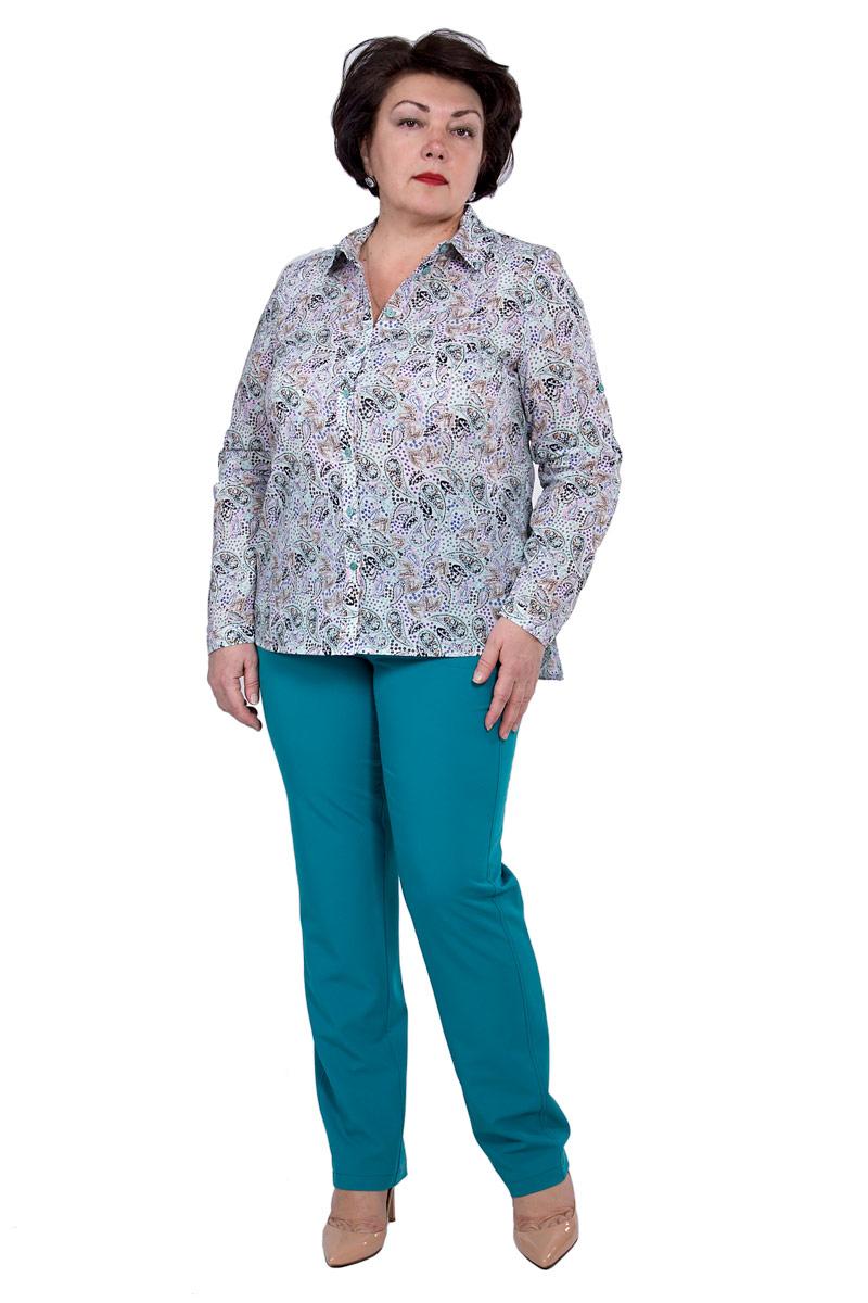 Блузка женская Pavlotti, цвет: светло-зеленый. П18-203. Размер 52П18-203Блузка Pavlotti выполнена из хлопка с добавлением полиэстера. Модель с отложным воротником и длинными рукавами застегивается на пуговицы. Классический фасон блузки подчеркнет достоинства фигуры за счет нагрудных вытачек, создавая тем самым идеальный силуэт, а разрезы в боковых швах и паты на рукавах позволят создать более расслабленный и непринужденный образ. Изделие оформлено принтом.