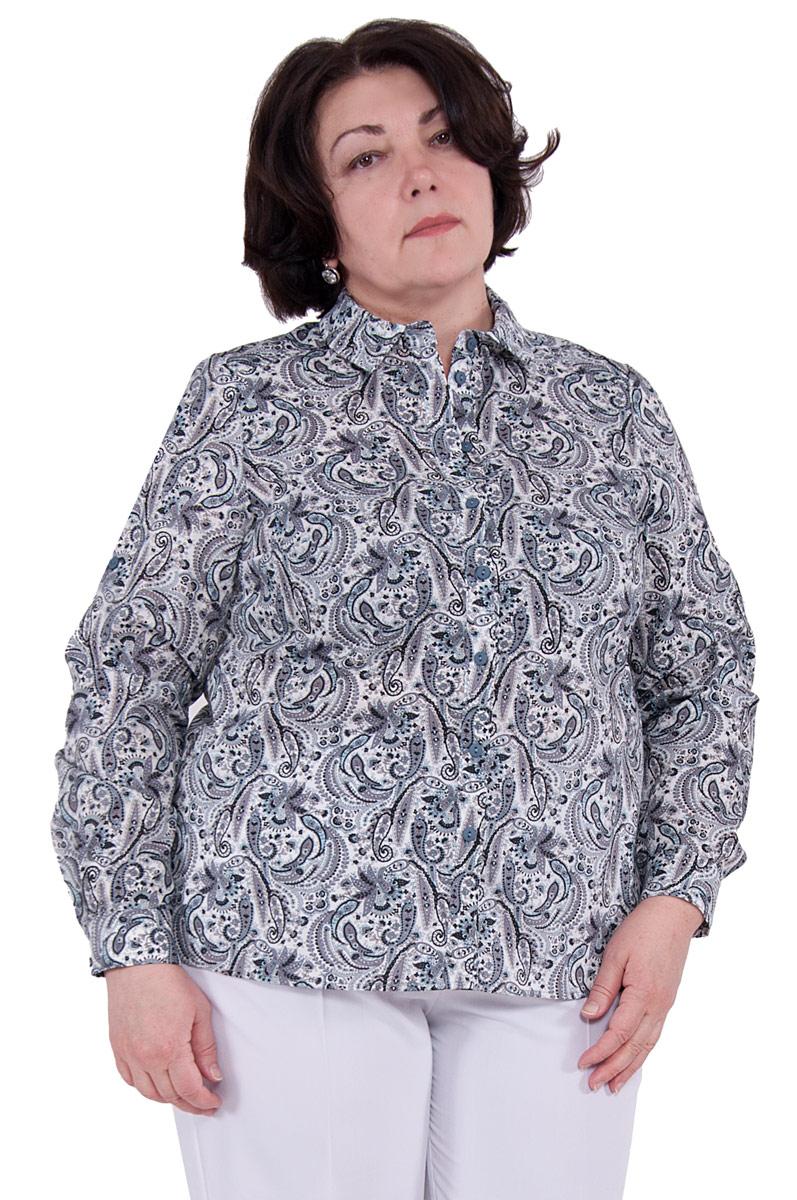 Блузка женская Pavlotti, цвет: серый. П18-203. Размер 56П18-203Блузка Pavlotti выполнена из хлопка с добавлением полиэстера. Модель с отложным воротником и длинными рукавами застегивается на пуговицы. Классический фасон блузки подчеркнет достоинства фигуры за счет нагрудных вытачек, создавая тем самым идеальный силуэт, а разрезы в боковых швах и паты на рукавах позволят создать более расслабленный и непринужденный образ. Изделие оформлено принтом.
