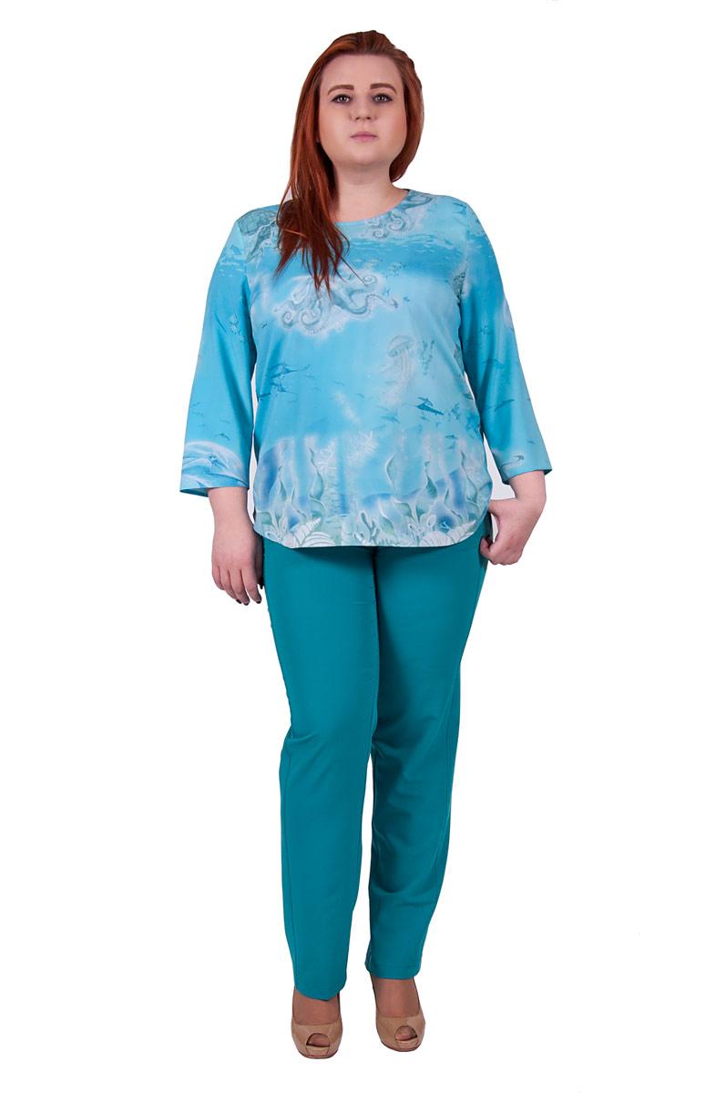 Блузка женская Pavlotti, цвет: голубой. П18-223. Размер 56П18-223Блузка Pavlotti изготовлена из полиэстера и вискозы. Модель с круглым вырезом горловины и рукавами длиной 3/4 оформлена принтом на морскую тематику. Универсальная блуза трапециевидного силуэта станет ярким акцентом вашего образа.