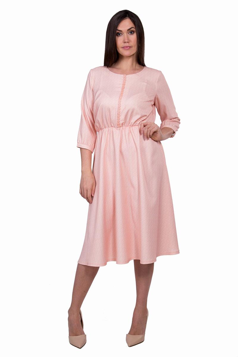 Платье Pavlotti, цвет: розовый. П19-122. Размер 50П19-122Платье Pavlotti выполнено из полиэстера с добавлением лайкры. Модель с круглым вырезом горловины и рукавами 3/4 создаст идеальный силуэт. Идеальную посадку обеспечивает резинка на талии.