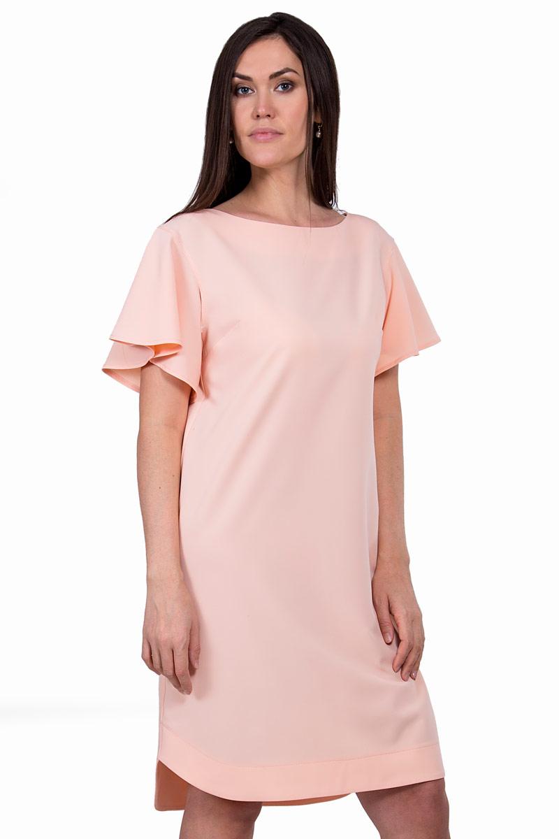 Платье Pavlotti, цвет: розовый. П19-133. Размер 46П19-133Платье Pavlotti выполнено из полиэстера с добавлением вискозы и эластана. Невероятно женственное платье прямого силуэта длиной до колен. Выразительным элементом этой модели стали укороченные объемные рукава-крылышки. Пастельный оттенок подчеркивает нежность образа.
