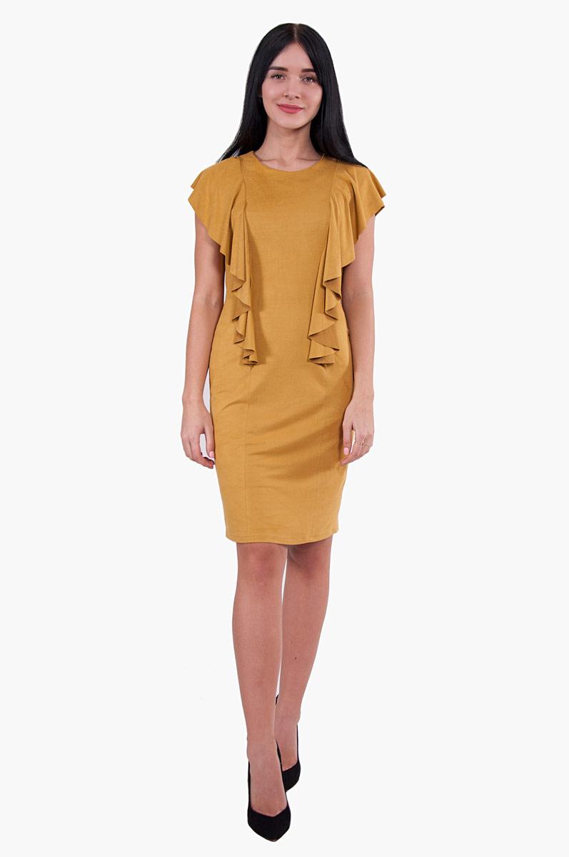 Платье Pavlotti, цвет: желтый. П19-187. Размер 44П19-187Платье Pavlotti выполнено из эластичной искусственной велюровой кожи. Платье ультрамодного цвета прилегающего силуэта имеет стильные элементы в виде объемных воланов. Модель с круглым вырезом горловины и короткими рукавами застегивается по спинке на молнию. Сзади предусмотрен небольшой разрез.