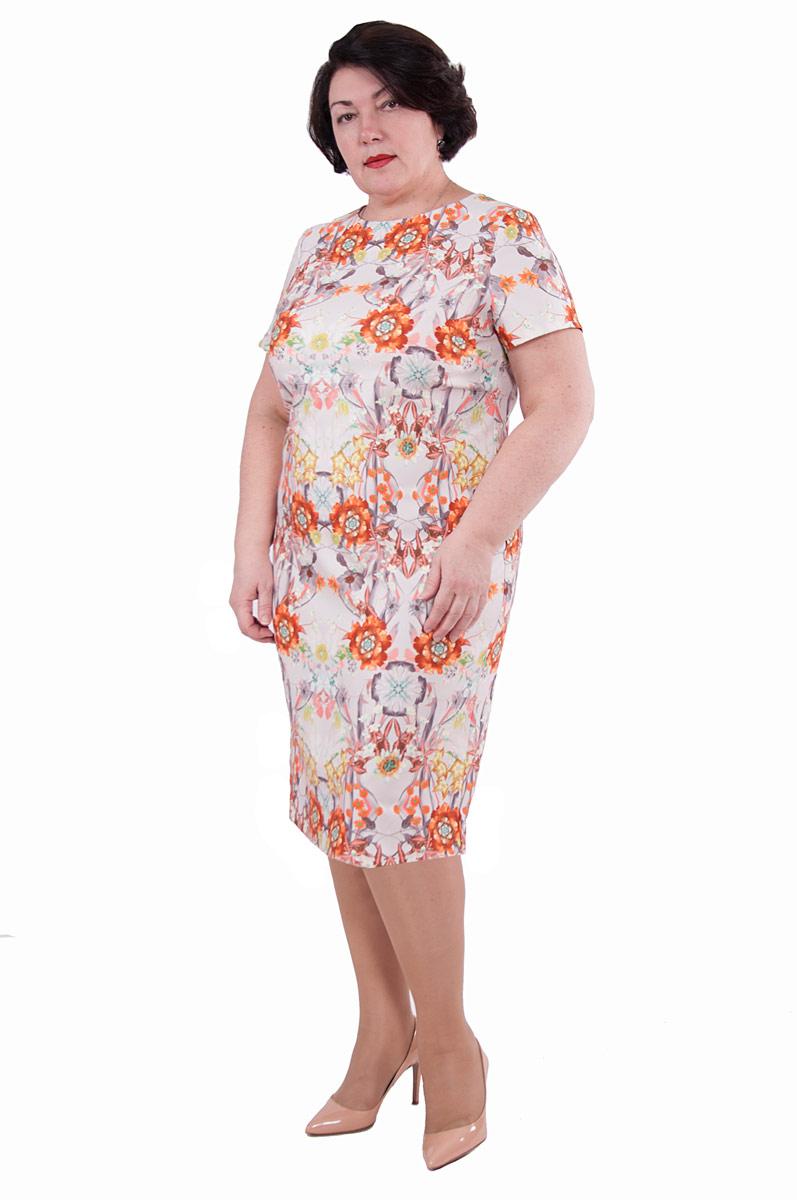 Платье Pavlotti, цвет: молочный, розовый. П19-191. Размер 56П19-191Платье Pavlotti выполнено из полиэстера с добавлением вискозы. Модель прилегающего силуэта имеет круглый вырез горловины и короткие рукава. Сзади имеется разрез. Платье оформлено нежным цветочным принтом.