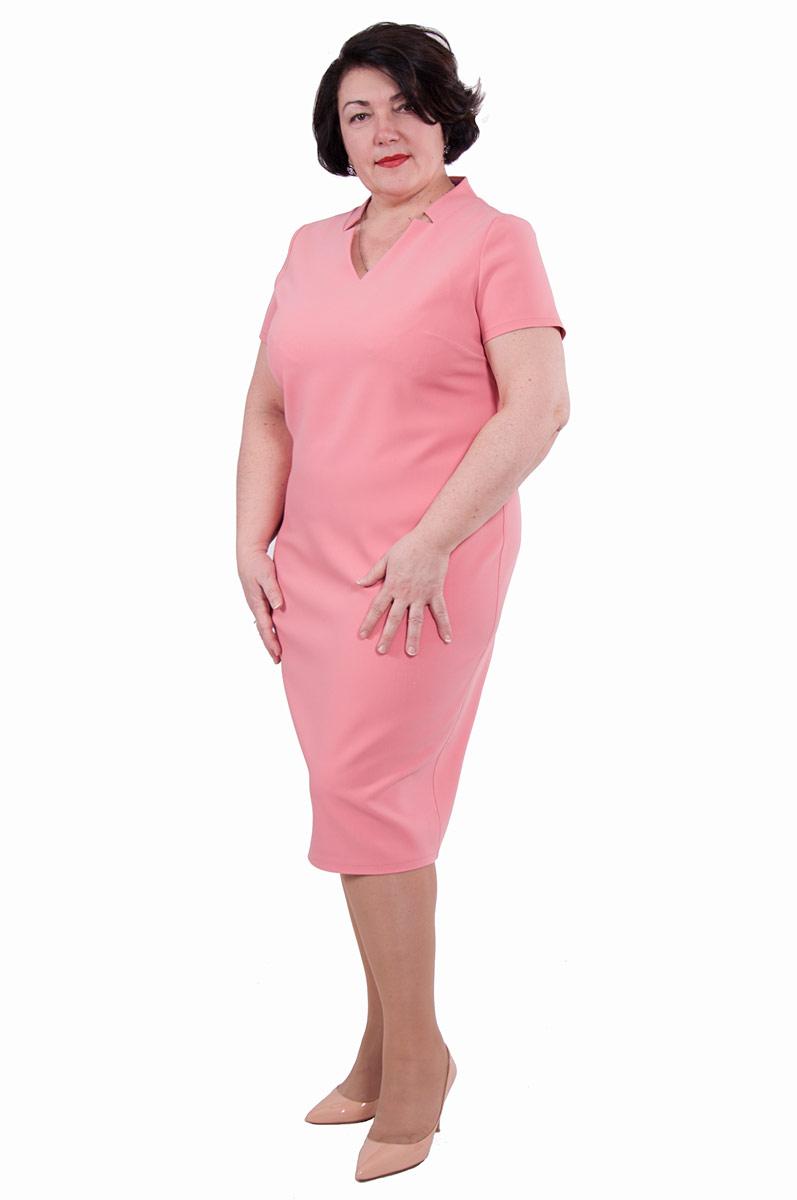 Платье Pavlotti, цвет: розовый. П19-192. Размер 50П19-192Лаконичное платье Pavlotti выполнено из полиэстера с добавлением вискозы и лайкры. Модель длиной до колен имеет V-образный вырез горловины и короткие рукава. В области груди предусмотрены вытачки для оптимальной посадки по фигуре. Сзади имеется разрез.