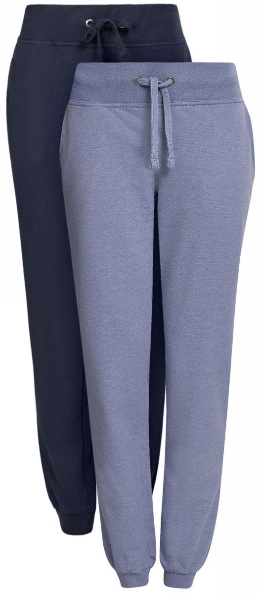 Брюки спортивные женские oodji Ultra, цвет: сиреневый, темно-синий, 2 шт. 16700030T2/46173/19A1N. Размер XS (42)16700030T2/46173/19A1NЖенские спортивные брюки oodji Ultra, выполненные из натурального хлопка, великолепно подойдут для отдыха и занятий спортом. Модель дополнена широкими эластичными резинками на поясе и по низу брючин. Объем талии регулируется с внешней стороны при помощи шнурка-кулиски. Спереди имеются два втачных кармана. В комплекте две пары брюк.