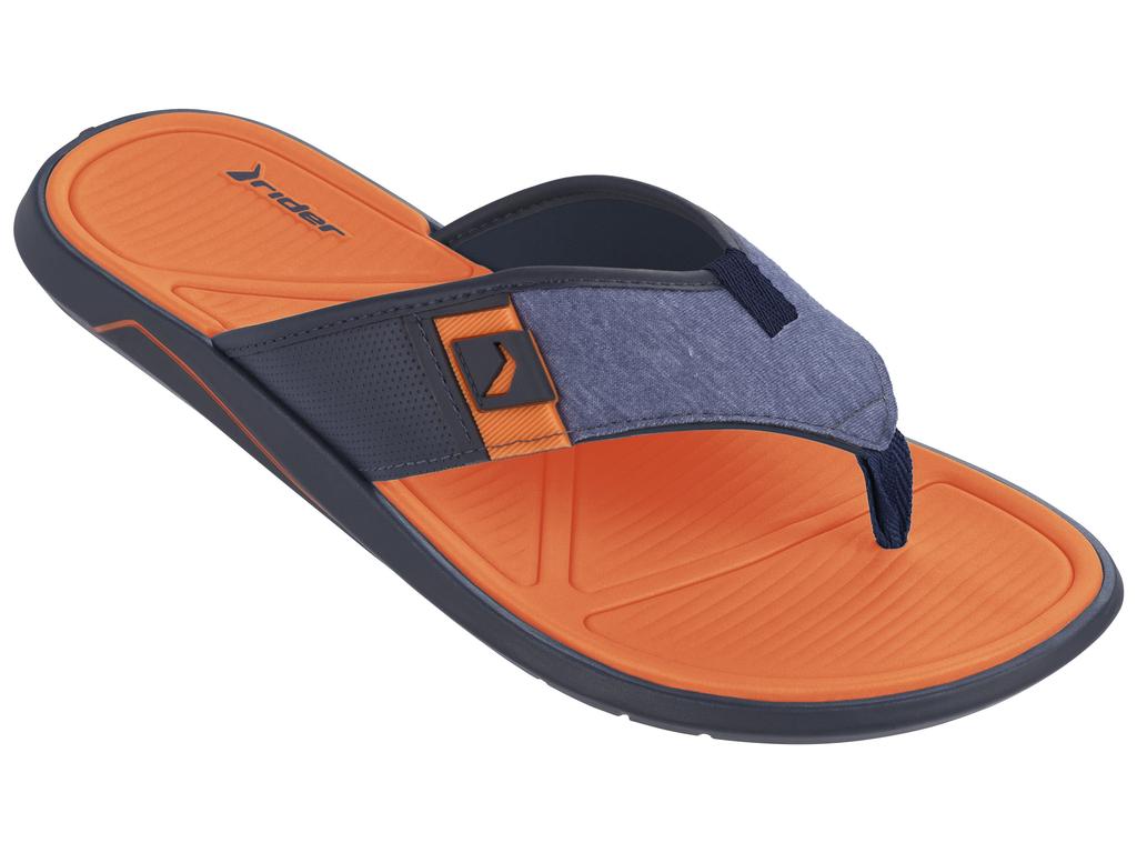Сланцы мужские Rider City Thong AD, цвет: синий, оранжевый. 11027-22455. Размер BRA 39 (40)11027-22455Стильные мужские сланцы City Thong AD от Rider придутся вам по душе. Верх модели выполнен из ЭВА и текстиля. Ремешки с перемычкой надежно зафиксируют модель на ноге. Рельефная стелька из материала ЭВА комфортна при движении. Основание подошвы дополнено рифлением.