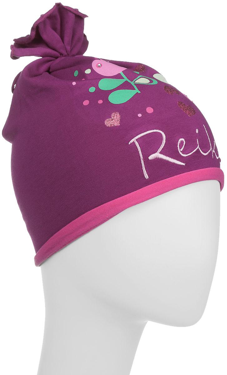 Шапка для девочки Reike Тюльпан, цвет: бордовый. RKNSS17-TLP2. Размер 52RKNSS17-TLP2_bordeauxОригинальная шапка для девочки Reike Тюльпан, изготовленная из качественного хлопкового материала и дополненная воланом на макушке, отлично впишется в гардероб юной модницы. Модель с контрастным подкладом оформлена цветочным принтом со стразами и блестками в стиле серии и вышивкой с названием бренда. Уважаемые клиенты!Размер, доступный для заказа, является обхватом головы.