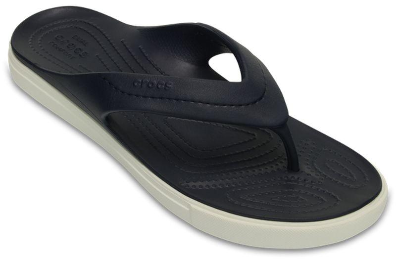 Сланцы Crocs CitiLane Flip, цвет: темно-синий. 202831-462. Размер 13 (45/46 )202831-462Стильные сланцы от Crocs придутся вам по душе. Рифление на верхней поверхности подошвы предотвращает выскальзывание ноги. Рельефное основание подошвы обеспечивает уверенное сцепление с любой поверхностью. Удобные сланцы прекрасно подойдут для похода в бассейн или на пляж.