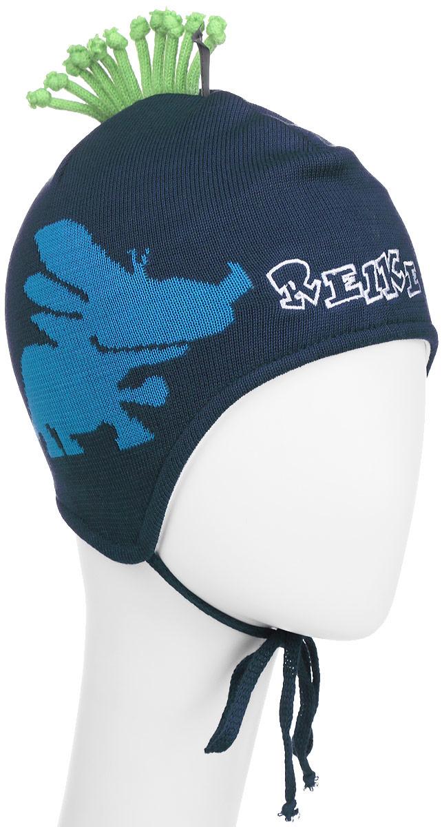 Шапка для мальчика Reike Динозаврики, цвет: синий. RKNSS17-DIN1-YN. Размер 46RKNSS17-DIN1-YN_navyЯркая двухслойная шапка для мальчикаReike Динозаврики, изготовленная из натурального хлопка мелкой вязки, защитит голову ребенка от ветра в прохладную погоду. Модель с удлиненными ушками оформлена принтом, вышитым логотипом Reike и ирокезом из шнурков. Изделие фиксируется на голове при помощи завязок.Уважаемые клиенты!Размер, доступный для заказа, является обхватом головы.