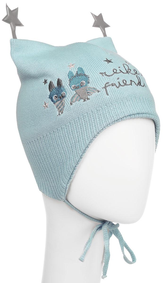 Шапка детская Reike Летучие Мышки, цвет: голубой. RKNSS17-BT1-YN. Размер 44RKNSS17-BT1-YN_blueСтильная двухслойная шапка Reike Летучие Мышки, изготовленная из натурального хлопка мелкой вязки, защитит голову ребенка от ветра в прохладную погоду. Модель с удлиненными ушками оформлена вышитым принтом в стиле коллекции и дополнена светоотражающими элементами в виде звездочек. Изделие фиксируется на голове при помощи завязок.Уважаемые клиенты!Размер, доступный для заказа, является обхватом головы.