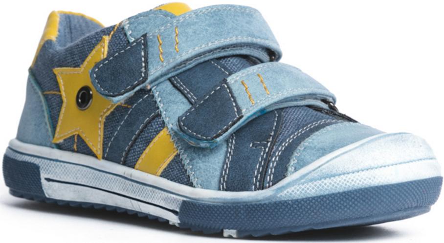 Кеды для мальчика PlayToday Baby, цвет: голубой, темно-синий, желтый. 177218. Размер 21177218Стильные и комфортные кеды превосходно подходят для ежедневных прогулок. Удобная пятка укреплена жестким задником, а легкая подошва с рифлением обеспечивает оптимальный комфорт. Застежки-липучки отлично фиксируют модель на ноге. Мыс изделия защищен прорезиненной вставкой. Подкладка из текстиля.