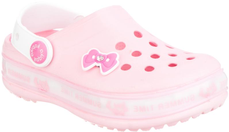 Сабо для девочки Kapika, цвет: розовый. 82100-2. Размер 2582100-2Прелестные сабо от Kapika придутся по душе вашей девочке. Модель полностью изготовлена из материала ЭВА, благодаря которому обувь невероятно легкая и удобная, она легко моется и быстро сохнет. Верх модели оформлен перфорацией и декоративным элементом. Пяточный ремешок предназначен для фиксации стопы при ходьбе. Рифление на подошве гарантирует идеальное сцепление с любой поверхностью. Такие сабо - отличное решение для каждодневного использования в жаркую погоду.