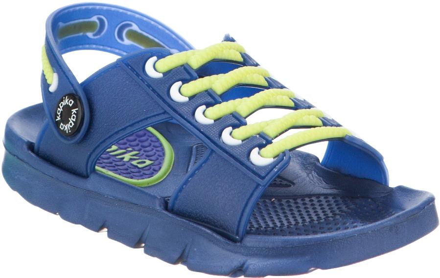 Сандалии для мальчика Kapika, цвет: синий. 82095. Размер 2682095Стильные сандалии от Kapika придутся по душе вашему ребенку. Модель полностью изготовлена из материала ЭВА, благодаря которому обувь невероятно легкая и удобная, она легко моется и быстро сохнет. Пяточный ремешок и эластичная шнуровка надежно зафиксируют изделие на ноге. Рифление на подошве гарантирует идеальное сцепление с любой поверхностью. Такие сандалии - отличное решение для каждодневного использования в жаркую погоду.