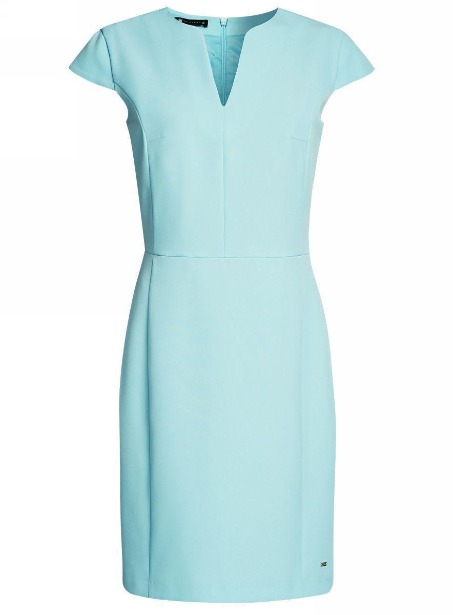 Платье oodji Collection, цвет: бирюзовый. 21902060-4/14917/7300N. Размер 44-170 (50-170)21902060-4/14917/7300NПриталенное платье oodji Collection, выгодно подчеркивающее достоинства фигуры, выполнено из качественного однотонного трикотажа. Модель средней длины с фигурным V-образным вырезом горловины и короткими рукавами-крылышками застегивается на скрытую застежку-молнию на спинке.