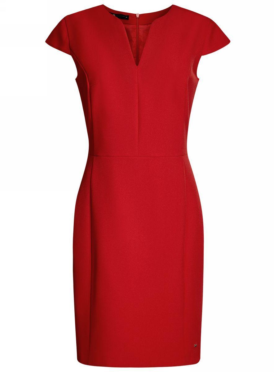 Платье oodji Collection, цвет: красный. 21902060-4/14917/4500N. Размер 36-170 (42-170)21902060-4/14917/4500NПриталенное платье oodji Collection, выгодно подчеркивающее достоинства фигуры, выполнено из качественного однотонного трикотажа. Модель средней длины с фигурным V-образным вырезом горловины и короткими рукавами-крылышками застегивается на скрытую застежку-молнию на спинке.