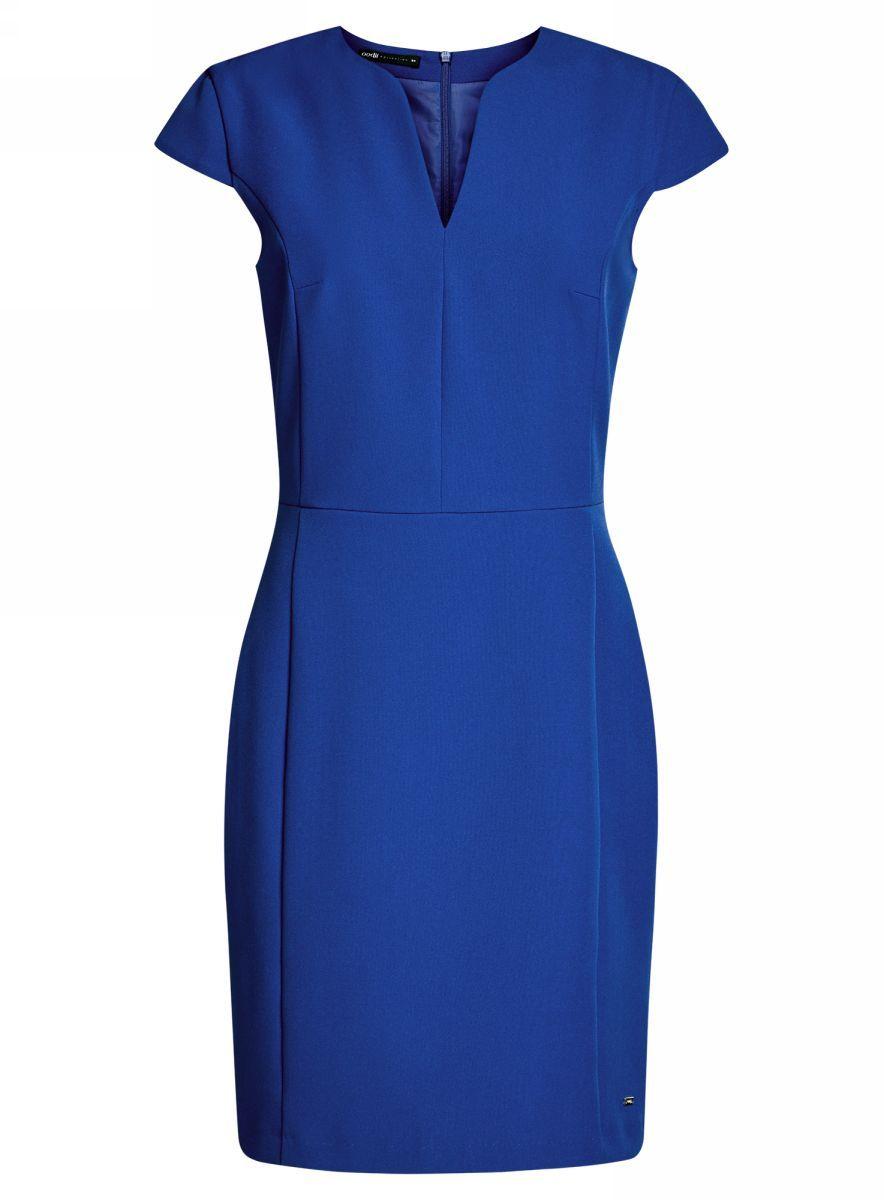 Платье oodji Collection, цвет: синий. 21902060-4/14917/7500N. Размер 44-170 (50-170)21902060-4/14917/7500NПриталенное платье oodji Collection, выгодно подчеркивающее достоинства фигуры, выполнено из качественного однотонного трикотажа. Модель средней длины с фигурным V-образным вырезом горловины и короткими рукавами-крылышками застегивается на скрытую застежку-молнию на спинке.
