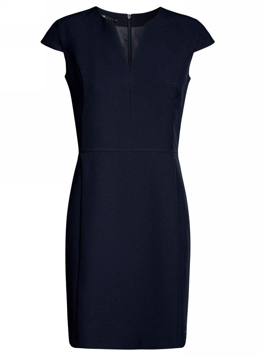 Платье oodji Collection, цвет: темно-синий. 21902060-4/14917/7900N. Размер 36-170 (42-170)21902060-4/14917/7900NПриталенное платье oodji Collection, выгодно подчеркивающее достоинства фигуры, выполнено из качественного однотонного трикотажа. Модель средней длины с фигурным V-образным вырезом горловины и короткими рукавами-крылышками застегивается на скрытую застежку-молнию на спинке.