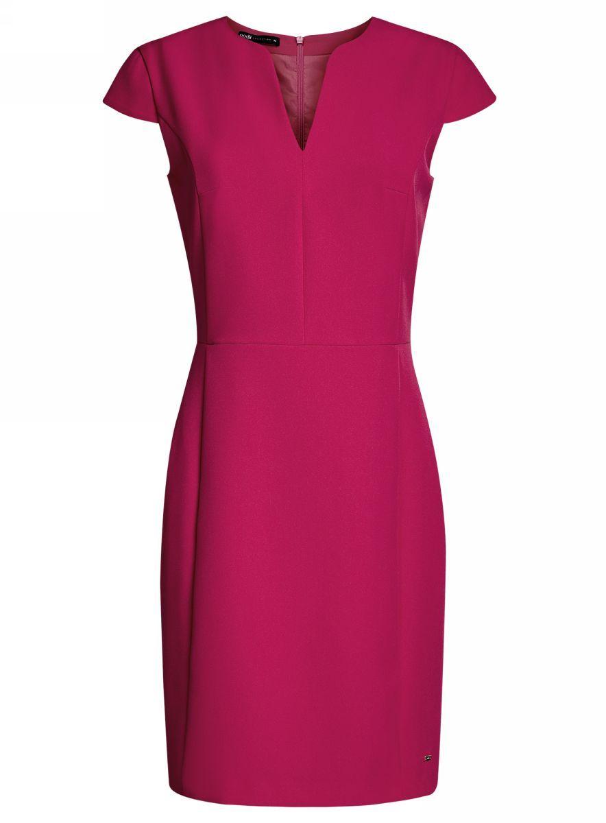 Платье oodji Collection, цвет: фуксия. 21902060-4/14917/4700N. Размер 42-170 (48-170)21902060-4/14917/4700NПриталенное платье oodji Collection, выгодно подчеркивающее достоинства фигуры, выполнено из качественного однотонного трикотажа. Модель средней длины с фигурным V-образным вырезом горловины и короткими рукавами-крылышками застегивается на скрытую застежку-молнию на спинке.