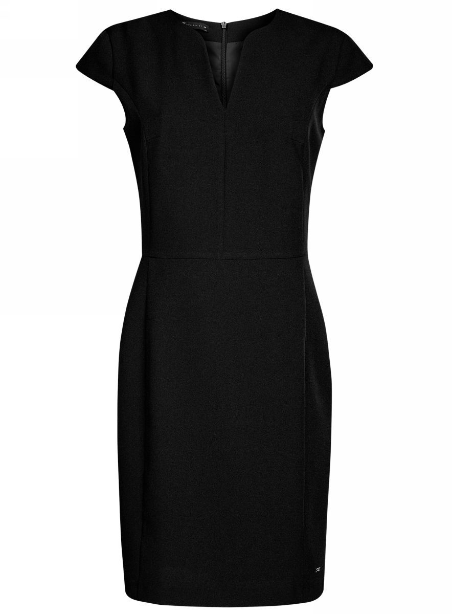 Платье oodji Collection, цвет: черный. 21902060-4/14917/2900N. Размер 42-170 (48-170)21902060-4/14917/2900NПриталенное платье oodji Collection, выгодно подчеркивающее достоинства фигуры, выполнено из качественного однотонного трикотажа. Модель средней длины с фигурным V-образным вырезом горловины и короткими рукавами-крылышками застегивается на скрытую застежку-молнию на спинке.