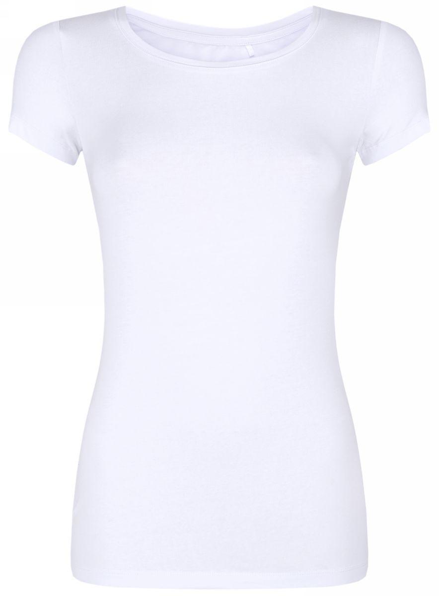 Футболка женская oodji Ultra, цвет: белый. 14701005-7B/46147/1000N. Размер XL (50)14701005-7B/46147/1000NСтильная женская футболка oodji Ultra, выполненная из хлопка с небольшим добавлением полиуретана, отлично дополнит ваш гардероб. Модель с круглым вырезом горловины и короткими рукавами.