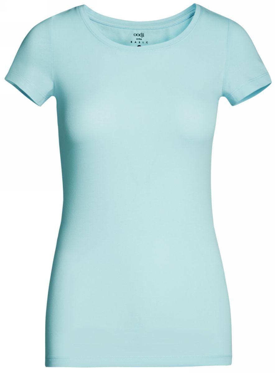 Футболка женская oodji Ultra, цвет: голубой. 14701005-7B/46147/7001N. Размер M (46)14701005-7B/46147/7001NСтильная женская футболка oodji Ultra, выполненная из хлопка с небольшим добавлением полиуретана, отлично дополнит ваш гардероб. Модель с круглым вырезом горловины и короткими рукавами.
