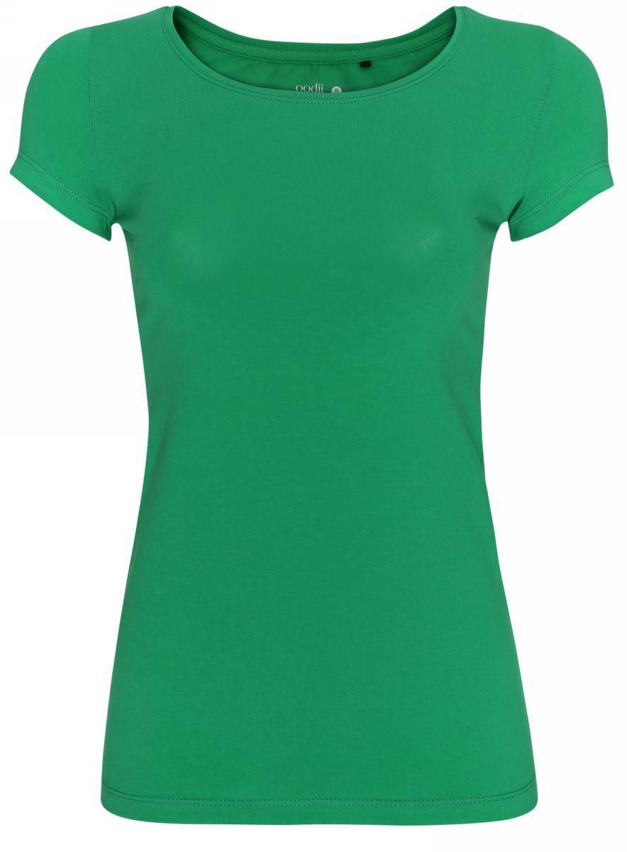 Футболка женская oodji Ultra, цвет: ярко-зеленый. 14701005-7B/46147/6A00N. Размер L (48)14701005-7B/46147/6A00NСтильная женская футболка oodji Ultra, выполненная из хлопка с небольшим добавлением полиуретана, отлично дополнит ваш гардероб. Модель с круглым вырезом горловины и короткими рукавами.