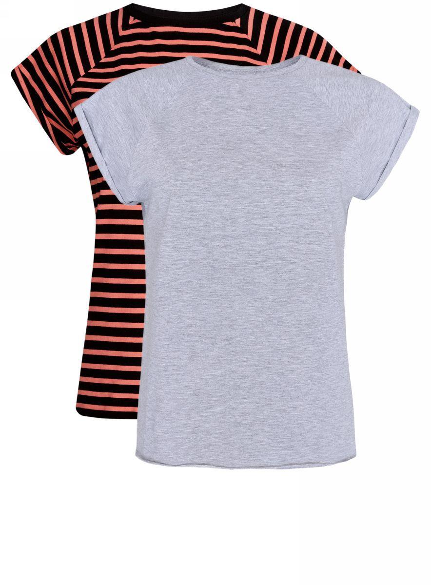 Футболка женская oodji Ultra, цвет: светло-серый, черный, 2 шт. 14707001-4T2/46154/2029N. Размер M (46)14707001-4T2/46154/2029NБазовая футболка свободного кроя с короткими рукавами-реглан и круглым вырезом горловины выполнена из натурального хлопка. В комплект входит две футболки.